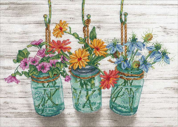 """Dimensions Counted Cross Stitch Kit 14""""X10"""" Flowering Jars (14 Count)"""