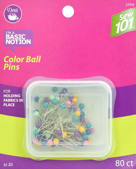 Dritz Sewing 101 Color Ball Pins Size 20 80/Pkg