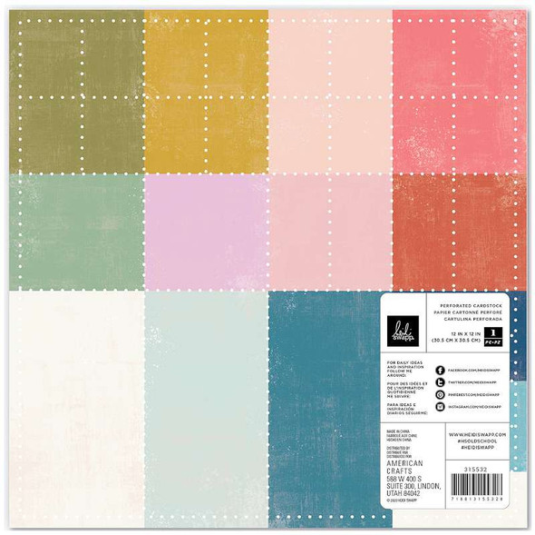 """Heidi Swapp Old School Specialty Paper 12""""X12"""" Perforated Color Cardstock"""