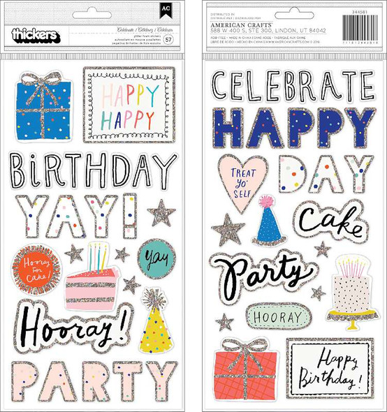 Hooray Thickers Stickers 57/Pkg Words & Icons/Foam W/Glitter Accents
