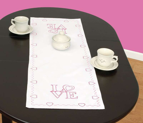 """Jack Dempsey Stamped Table Runner/Scarf 15""""X42"""" Love"""