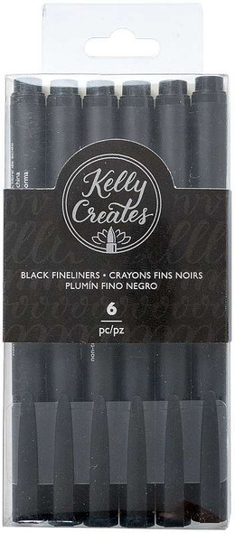 Kelly Creates Fineliners Pens 6/Pkg Black