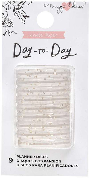 """Maggie Holmes Day-To-Day Planner Small Discs 2""""X4"""" 9/Pkg Gold Glitter"""