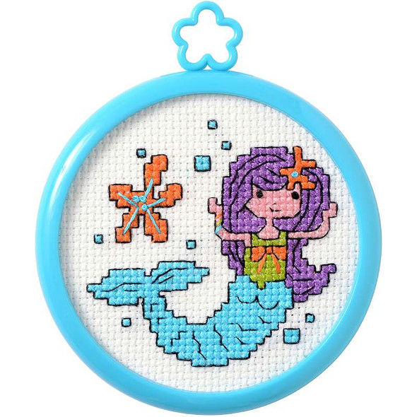 "My 1st Stitch Mermaid Mini Counted Cross Stitch Kit 3"" Round 14 Count"