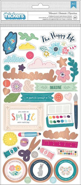 """Paige Evans Whimsical Thickers Stickers 5.5""""X11"""" 89/Pkg Icons, Chipboard W/Copper Foil"""