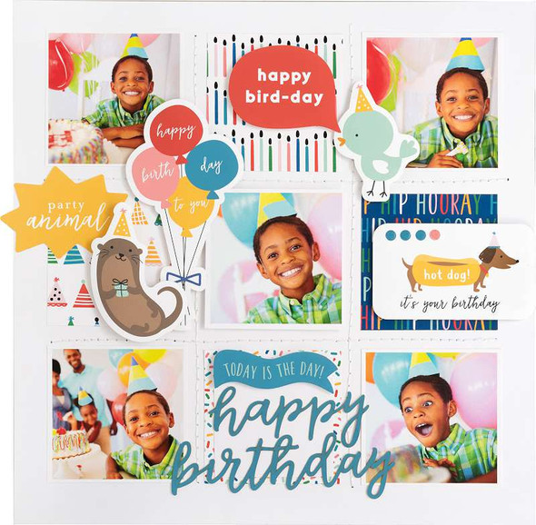 """Pebbles Single-Sided Paper Pad 12""""X12"""" 36/Pkg Happy Cake Day, 12 Designs/3 Each"""