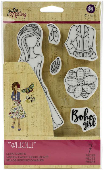 Prima Marketing Julie Nutting Mixed Media Cling Rubber Stamp Willow