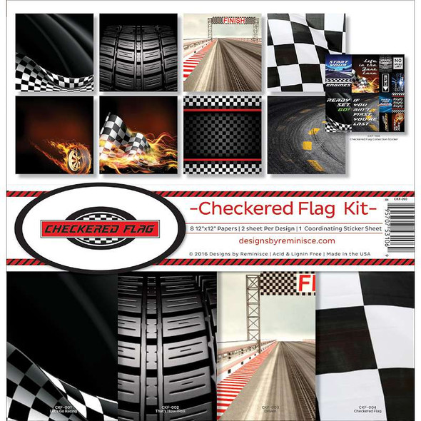 """Reminisce Collection Kit 12""""X12"""" Checkered Flag"""