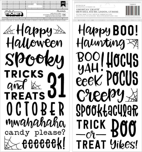 "Spoooky Thickers Stickers 5.5""X11"" 126/Pkg Phrase/Puffy"