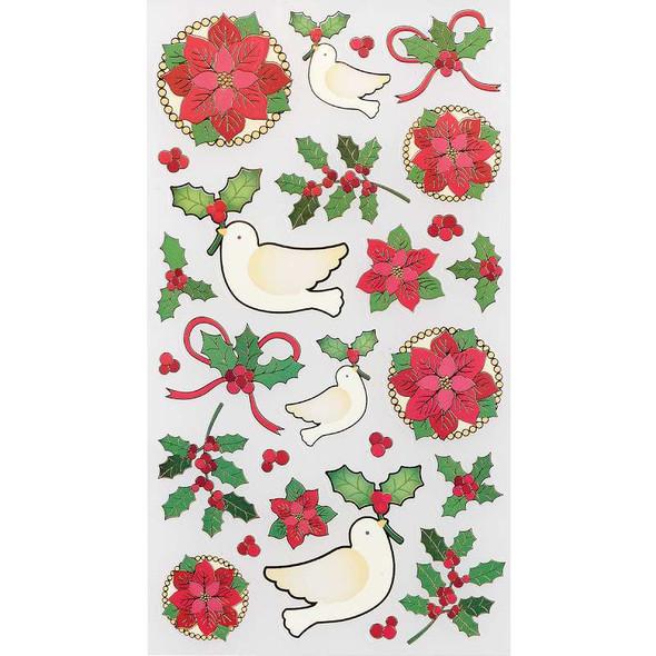 Sticko Christmas Stickers Poinsettias & Holly