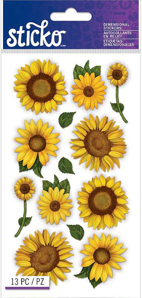 Sticko Dimensional Stickers Sunflowers
