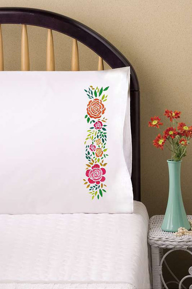 """Tobin Stamped For Embroidery Pillowcase Pair 20""""X30"""" Rosey"""