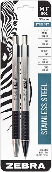 Zebra M/F 301 Stainless Steel Pen & Pencil Set 2/Pkg Pen 0.7mm & Mechanical Pencil 0.5mm