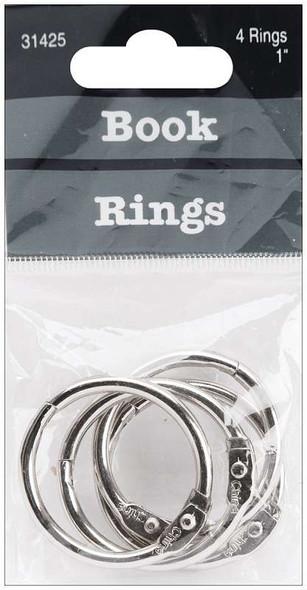 "Book Rings 1"" 4/Pkg Silver"