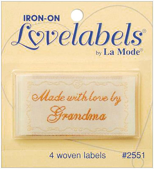Iron-On Lovelabels 4/Pkg Made With Love By Grandma