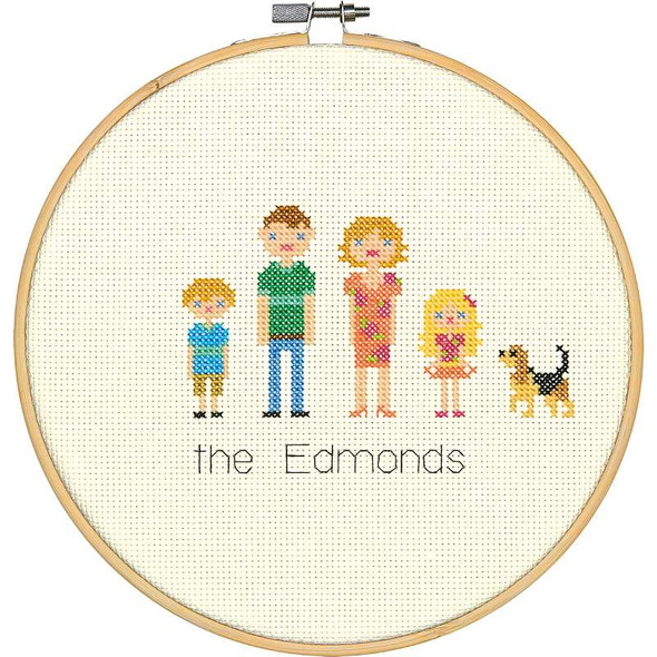 """All In The Family Counted Cross Stitch Kit 8"""" Round 14 Count"""