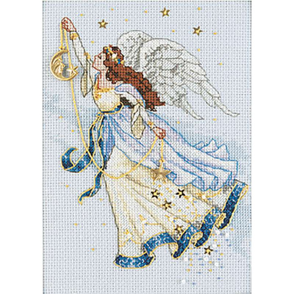 """Gold Petite Twilight Angel Counted Cross Stitch Kit 5""""X7"""" 16 Count"""
