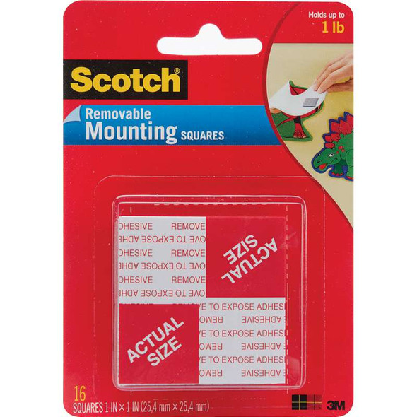 "Scotch Mounting Squares Removable 1"" 16/Pkg"