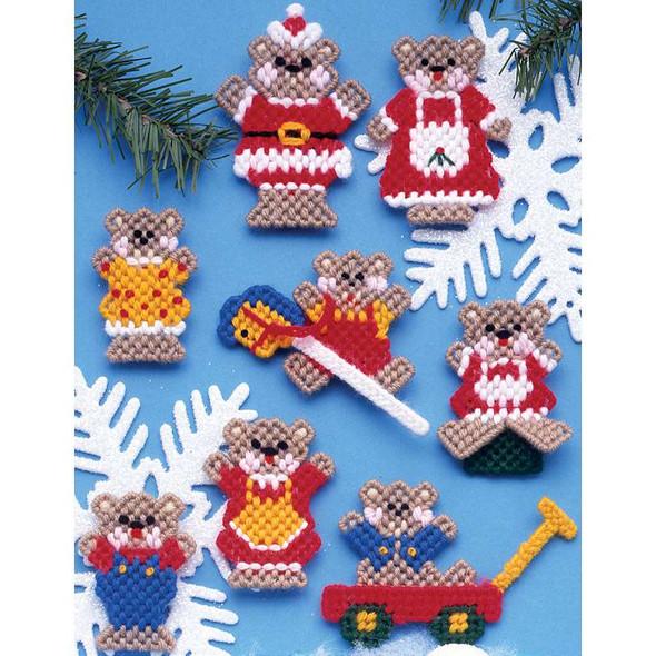 "Christmas Teddy Bears Ornaments Plastic Canvas Kit 3"" 7 Count Set Of 8"