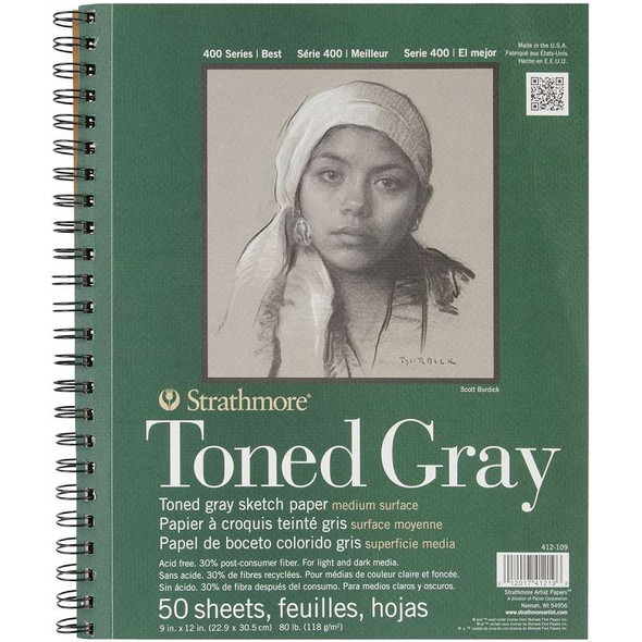 """Strathmore Toned Sketch Spiral Paper Pad 9""""x12"""" Gray 50 Sheets"""