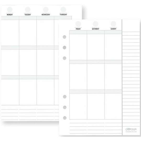 Planner Essentials Double-Sided Inserts A5 72/Pkg Weekly Vertical