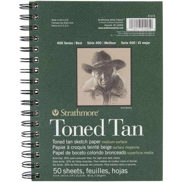 """Strathmore Toned Sketch Spiral Paper Pad 5.5""""X8.5"""" Tan 50 Sheets"""