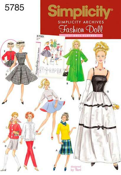 Simplicity 11 1/2 Fashion Doll Clothes ONE SIZE