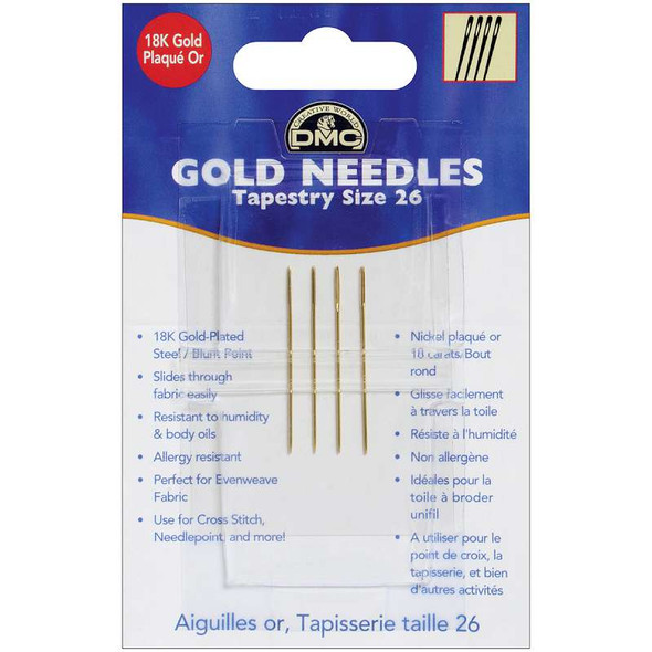Gold Tapestry Hand Needles Size 26 4/Pkg