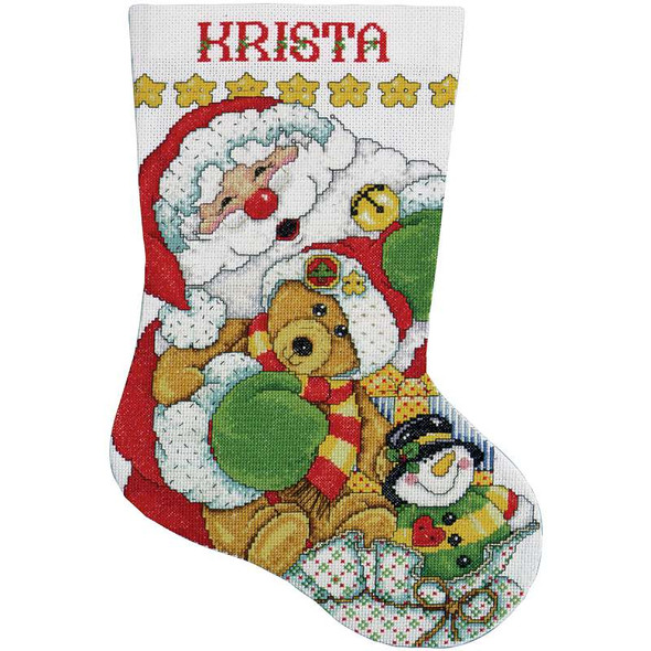 """Santa Stocking Counted Cross Stitch Kit 17"""" Long 14 Count"""