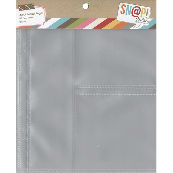 """Sn@p! Pocket Pages For 6""""X8"""" Binders 10/Pkg (1) 2""""X8"""" & (2) 4""""X4"""" Pockets"""