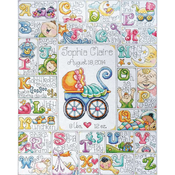 """Baby ABC Counted Cross Stitch Kit 16""""X20"""" 14 Count"""