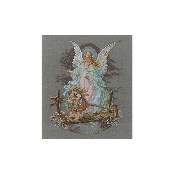 """Guardian Angel Counted Cross Stitch Kit 7.5""""X9.875"""" 14 Count"""