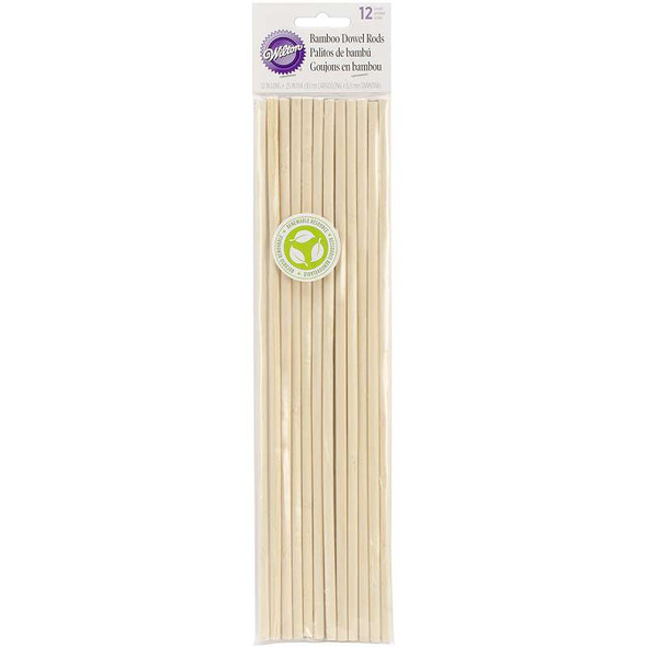 "Bamboo Dowel Rods 12/Pkg 12"""