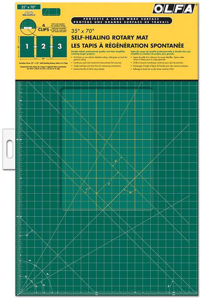 "OLFA Gridded Cutting Mat Set 35""X70"" Clipped"