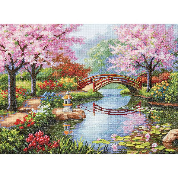 """Gold Collection Japanese Garden Counted Cross Stitch Kit 16""""X12"""" 16 Count"""