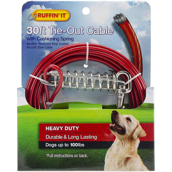 Heavy Duty Cable Tie Out W/Cushioning Spring 30ft