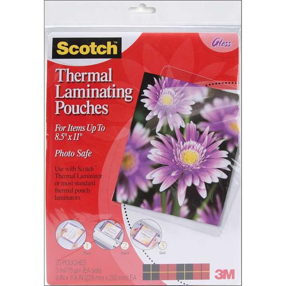 "Scotch Thermal Laminator Pouches 20/Pkg 9""X11.4"""