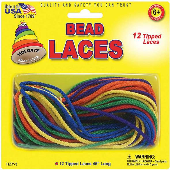 """Bead Laces 45"""" 12/Pkg Assorted Colors"""