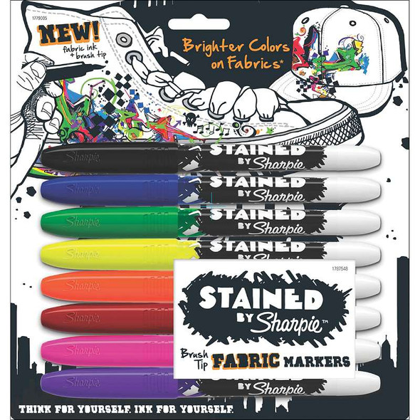 Stained By Sharpie Fabric Markers 8/Pkg Assorted Colors