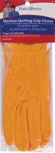 Fons & Porter Machine Quilting Grip Gloves 1 Pair Large - Gold