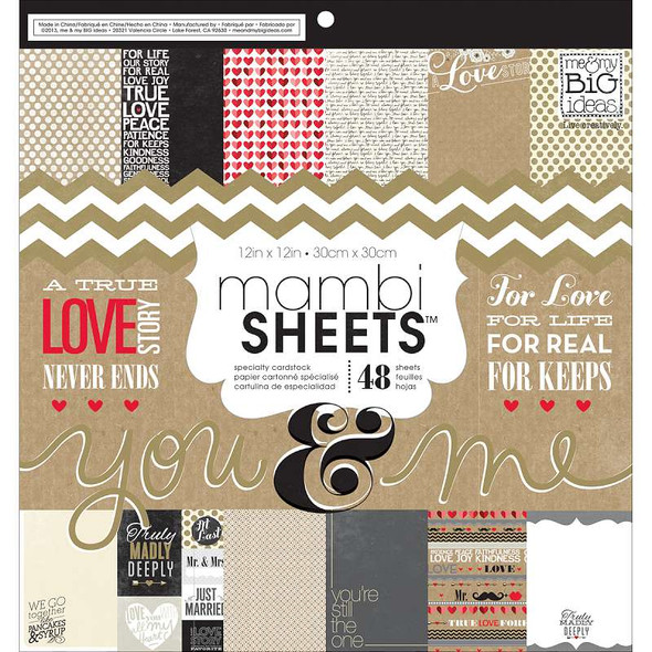 """MAMBI Single-Sided Paper Pad 12""""X12"""" 48/Pkg You & Me"""