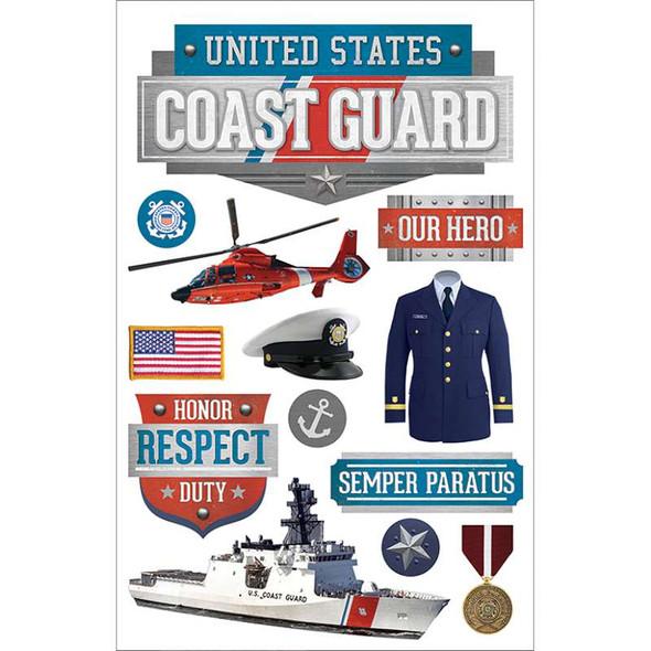 "Paper House 3D Stickers 4.5""x8.5"" Us Coast Guard"