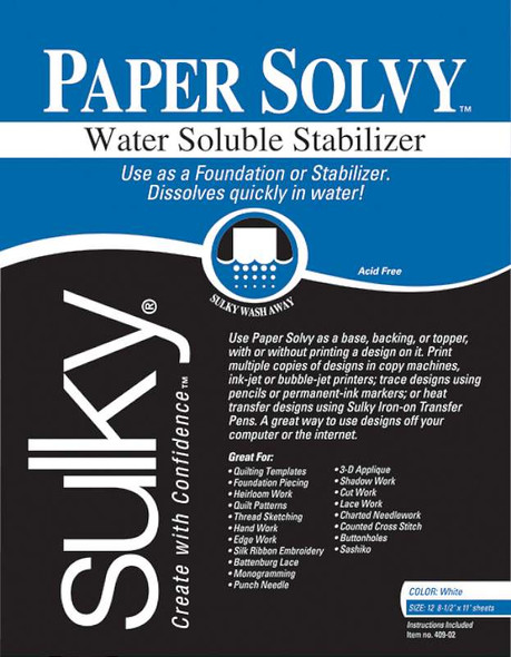 """Paper Solvy Water-Soluble Stabilizer 8.5""""X11"""" 12/Pkg"""