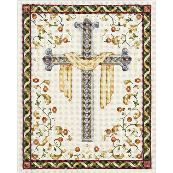"""His Cross Counted Cross Stitch Kit 8""""X10"""" 14 Count"""