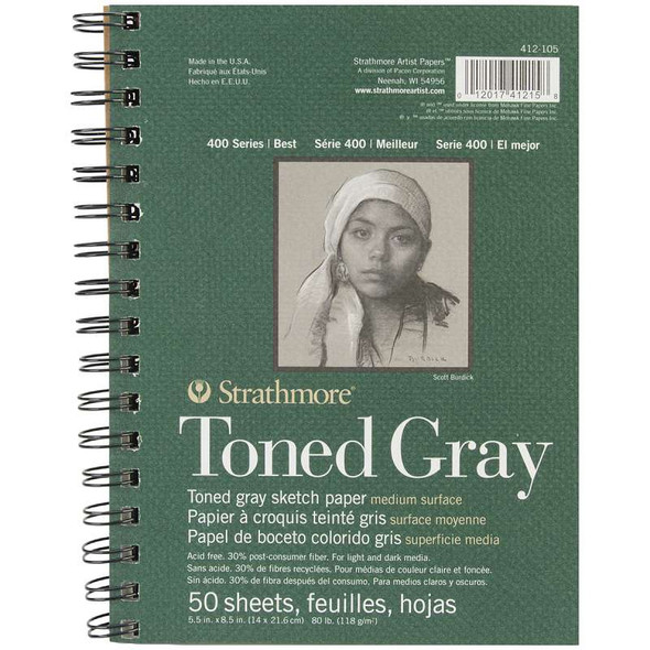 """Strathmore Toned Sketch Spiral Paper Pad 5.5""""X8.5"""" Gray 50 Sheets"""