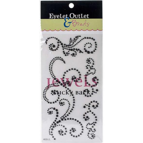 Bling Self-Adhesive Pearl Swirls 468/Pkg Black