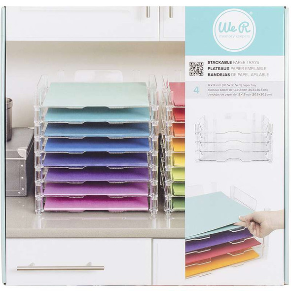 """Stackable Acrylic Paper Trays 12""""X12"""" 4/Pkg Clear (retail packaged)"""