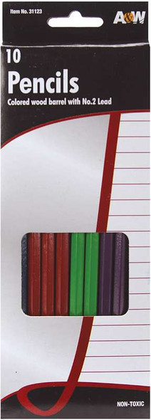 Wood #2 Pencils 10/Pkg Assorted Colors