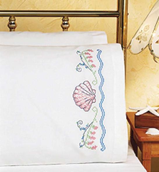 "Stamped Cross Stitch Pillowcase Pair 20""X30"" Seashells"