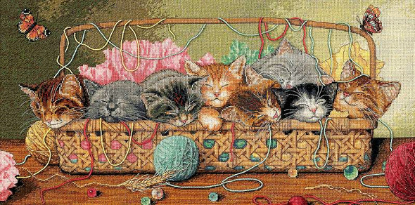 """Gold Collection Kitty Litter Counted Cross Stitch Kit 18""""X9"""" 18 Count"""